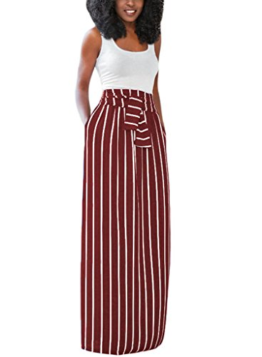 HOTAPEI Summer High Waisted Red and White Striped Long Skirts For Women Large