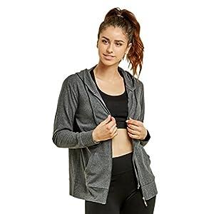 Teejoy Women's Thin Cotton Zip Up Hoodie Jacket (XL, CHC/Gr)