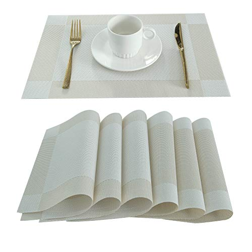 LIFONDER Decorative Heat Resistant Placemat - Crossweave Vinyl Washable Rectangle Table Place Mats for Dining Table, White, Set of 6 (Rectangle Placemat)