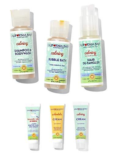 California Baby Calming Basics Tote- 6 piece calming kit | Shampoo | Body Wash | Bubble Bath | Hair-Detangler | Diaper Rash Ointment | Calendula Cream | (California Baby Calendula Cream For Diaper Rash)