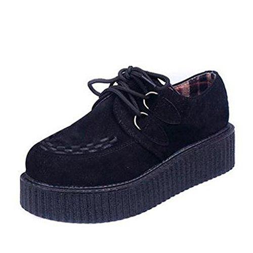 Dear Time Fashion String Rope Women Platform Shoes Black (Heel Platform Creeper Shoe)