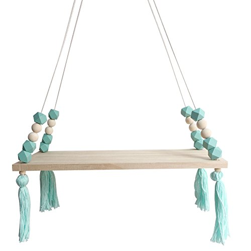 YuShang Nordic Display Wall Hanging Shelf Swing Rope Floating Shelves with Rope String Home Decorative (Mint Green)