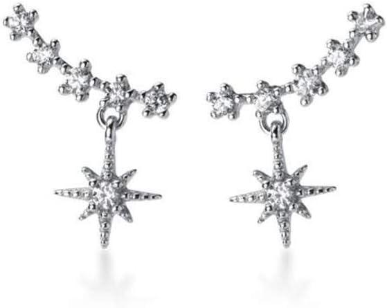 WOZUIMEI S925 Pendientes de Estrella Delicados de Estilo Artístico de Plata Pendientes de Estrella de Luz con Diamantes Dulces para MujerUn par