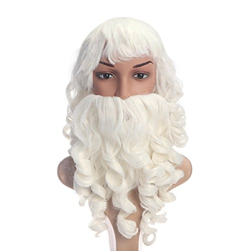 Tinksky Santa Claus Beard and Wig Set Costume Santa Beard and Wig for Christmas Party Favors - Christmas Gift for (Santa Claus Hair And Beard)