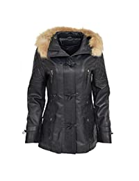 A1 FASHION GOODS Womens Duffle Jacket Navy Leather Hooded Parka Coat Amelia