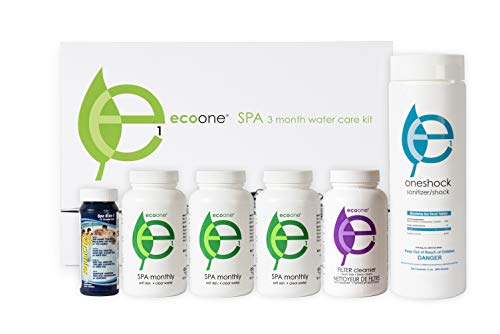 ecoone | Hot Tub Chemical Maintenance & Supply Kit | Spa Shock, Conditioner & Purification Kit | Contains Oneshock Chlorine Tablets, SPA Monthly Conditioner & Filter Cleanser | 3 Month - Bubble Clear Fiber