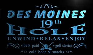 pi2156-b Des Moines 19th Golf Hole Bar Beer Neon Light Sign