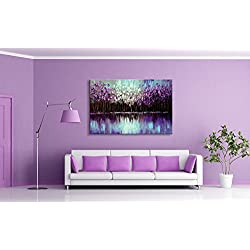 Seekland Art Handmade Abstract Wall Deco Art Landscape Oil Painting Palette Knife Purple Tree Artwork on Canvas Stretched Ready to Hang (Framed 36x24 inch)