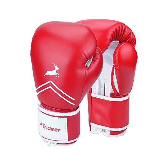 Trideer Pro Grade Boxing Gloves, Kickboxing Bagwork Gel Sparring Training Gloves, Muay Thai Style Punching Bag Mitts, Fight Gloves Men & Women (Red, 16 oz)