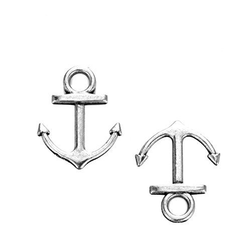 100pcs Vintage Metal Alloy Nautical Anchor Charms Jewelry Anchor Pendants for Crafting, Jewelry Making Accessory 18x14mm (100pcs)