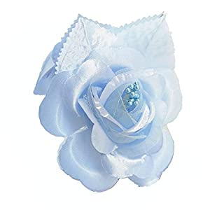 12 Silk Roses Wedding Favor Flower Corsage Pick - Light Blue 94