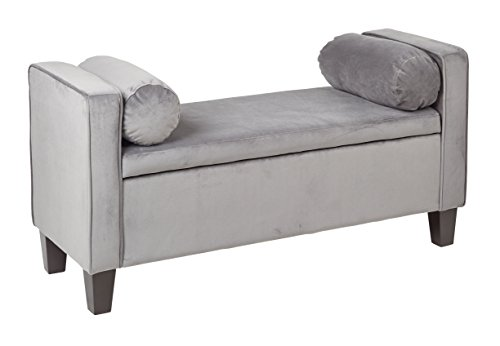 Office Star Cordoba Storage Bench with Pillows in Velvet Fabric, Charcoal by Office Star