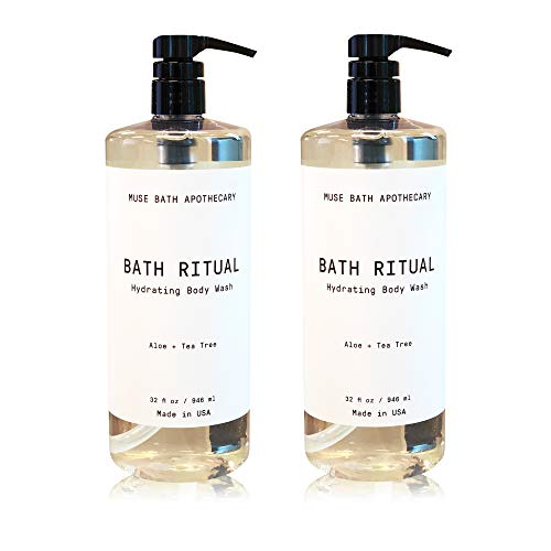 Muse Bath Apothecary Bath Ritual - Aromatic and Hydrating Body Wash, 32 oz, Infused with Natural Essential Oils - Aloe + Tea Tree, 2 Pack