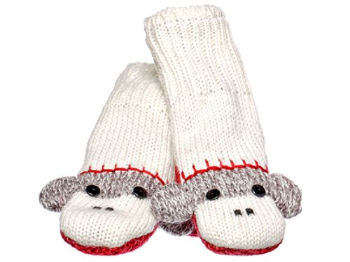 KnitWits Wool Fleece Lined Cute Sock Monkey Kids Mittens