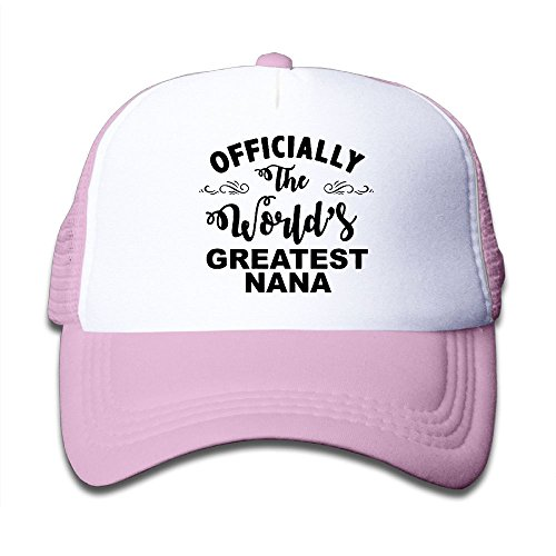 Officially The World's Greatest NANA Mesh Hat Trucker Style Outdoor Sports Baseball Cap With Adjustable Snapback Strap For Kid's Pink One - Nana Trucker Hat