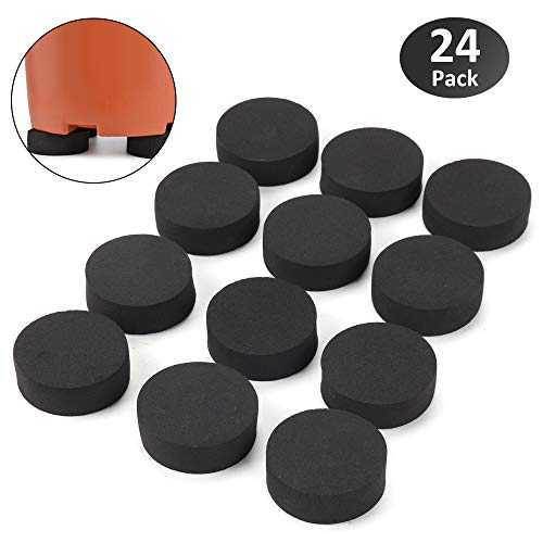 GROWNEER 24 Packs 1.7 Inches Rubber Invisible Pot Feet Planter Riser for Medium and Large Flower Pots, Furniture, Statuary, Patio and Deck - 24r Pc