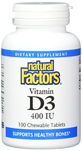 Natural Factors, Vitamin D3 400 IU, Supports Strong Bones, Teeth and Immune Function, 100 Tablets (100 Servings)