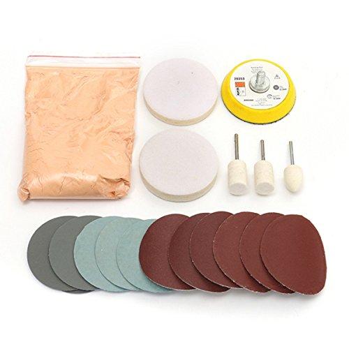 GOZAR Glass Polishing Kit Scratch Removal Cerium Oxide Polishing Powder Polishing Pad And Wheel