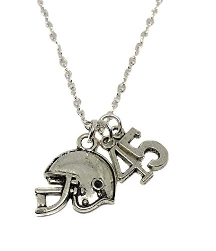 (Heart Projects Custom Stainless Steel Football Mom Circle Charm Number Charm, Silver Finished Necklace, 18