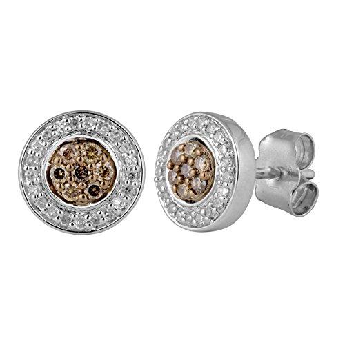 Jewelili femme  9carats (375/1000)  Or blanc #Gold Rond   Marron Diamant