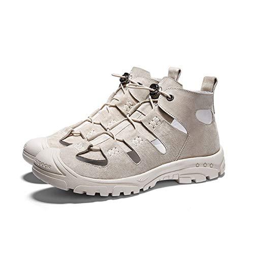 Tianre Men's Hiking Sandals Closed Toe Adjustable Outdoor Sport Water Shoes for Athletic Fisherman Beach Walking Wear-Resistant Beach Sandals (Color : Beige, Size : 40 EU/7 UK/7.5 US)