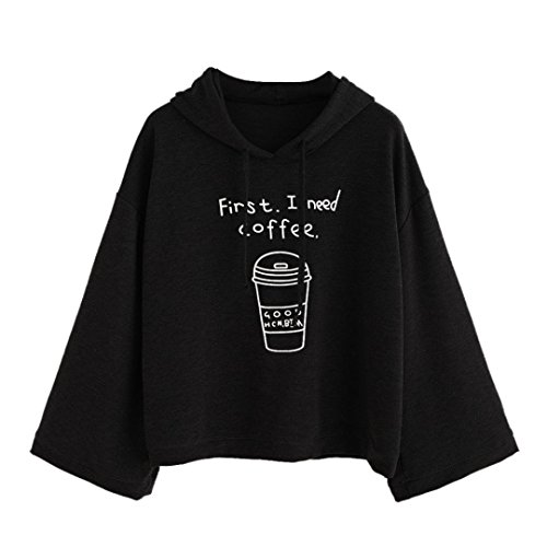 Cloak Style Long Sleeve - XUANOU Women Cloak Style Long Sleeve Letter Printed Hooded Sweatshirt Pullovers (X-large, Black)