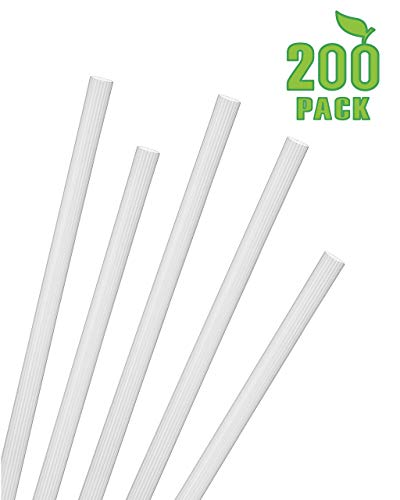 Greenhouse Extra Tall Jumbo Smoothie Straws, Pack of 200, Compostable Biodegradable PLA, Unwrapped Frozen Smoothie Shake Size .30
