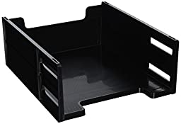 Eldon 17671 High-capacity front load stackable tray, letter size, black
