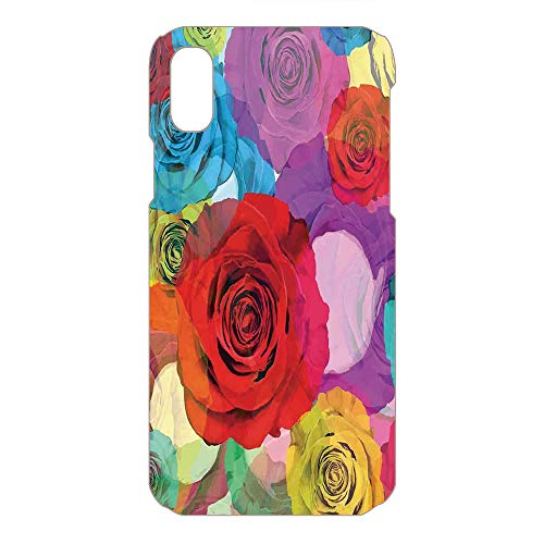 Phone Case Compatible 3D Printed 2018 Apple iPhone Xs MAX DIY Fashion Picture,Roses Background in Modern Pop Art Work Romantic,Lovely Personalized Hard Plastic Phone Case Fashion Stylish ()