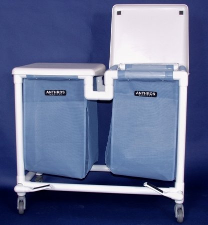 Anthros PVC Products N24-BBX-H2F-3ULN 24 Gallon Hamper with 3 in. Casters, 2 Bins, Foot Pedals, and Mesh Bags