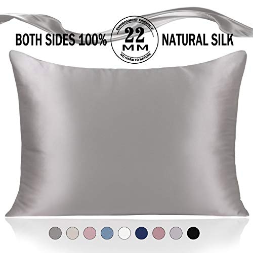 Adubor Silk Pillowcase for Hair and Skin 22 Momme 100% Natural Mulberry Silk Pillow Covers Standard Size with Hidden Zipper Soft Breathable Both Sides Pure Silk, 20×26inch, 1Pack, Dark Grey