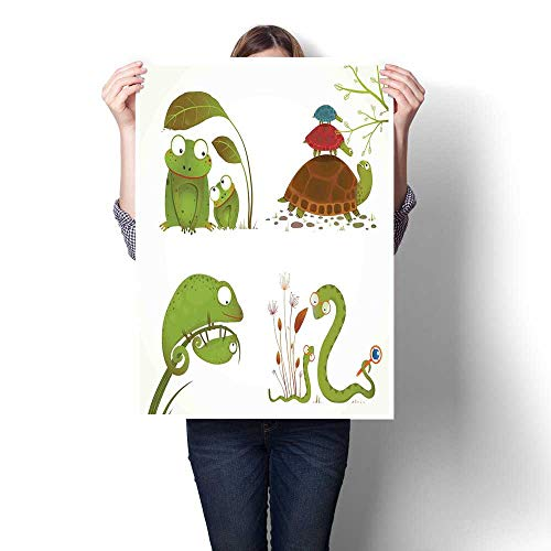 - Antufour Reptiles Wall hangings Reptile Family with Colorful Baby Collection Snake Frog Ninja Turtles Love Mother Landscape Canvas 32