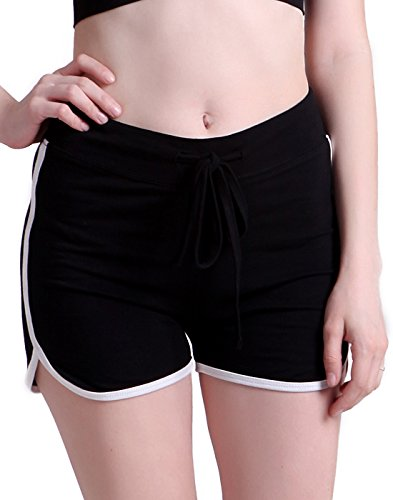 HDE Women's Retro Fashion Dolphin Running Workout Shorts (Black, Large)