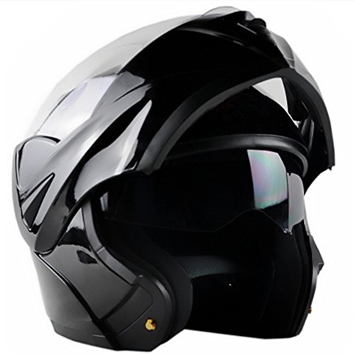 ILM 10 Colors Motorcycle Flip up Modular Helmet DOT (XL, Gloss Black)