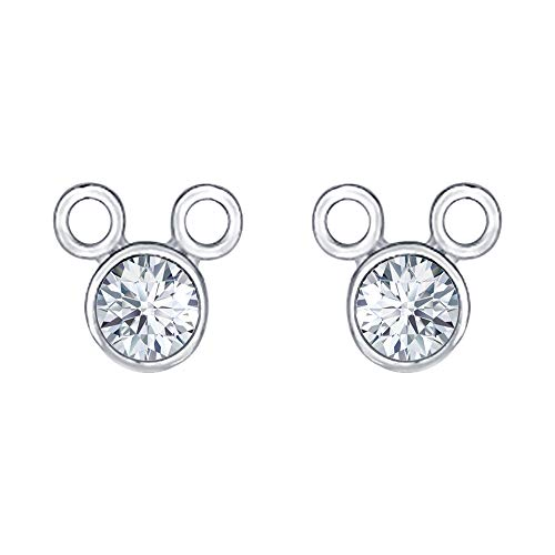 - Cute Mickey Mouse White Diamond .925 Sterling Silver Earrings For Womens Tiny Girls
