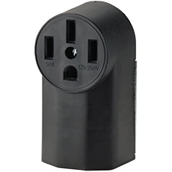 50 Amp Receptacle >> Eaton Wd1212 50 Amp 3 Pole 4 Wire 125 Volt Surface Mount Range Power Receptacle Black