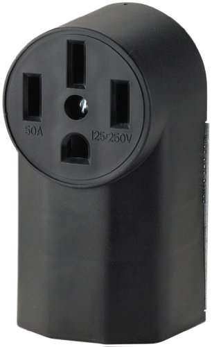 Eaton WD1212 50-Amp 3-Pole 4-Wire 125-Volt Surface Mount Range Power Receptacle, Black ()