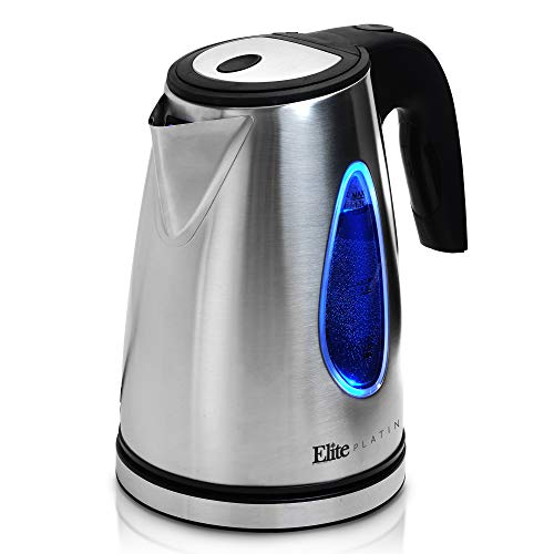 Boiler Electronic - Elite Platinum EKT-1271 Electric Tea Kettle Hot Water Heater Boiler BPA Free with LED Indicator, Fast Boil and Auto Shut-Off, 1.7L, Stainless Steel