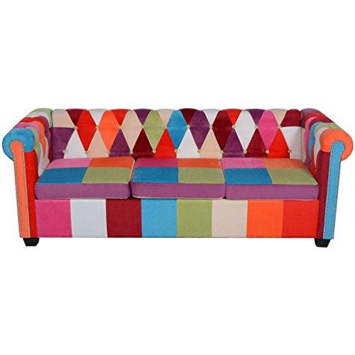 Luckyfu questo sofá Chesterfield a 3 plazas de Tela.Questo ...