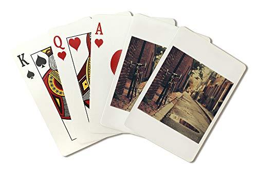 Boston Massachusetts Bike in Historic Neighborhood Photography A-91123 (Playing Card Deck - 52 Card Poker Size with Jokers)