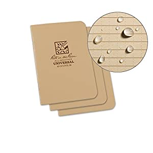 Rite in the Rain All-Weather Mini-Stapled Notebook, 3 1/4 x 4 5/8, Tan Cover, Universal Pattern, 3 Pack (No. 971TFX-M)