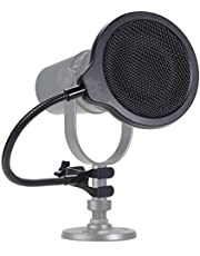 MV7 Microphone Pop Filter Mask Shield For Shure MV7 Mic, 4 Inch 3 Layers Windscreen with Flexible 360°Gooseneck Clip by SUNMON