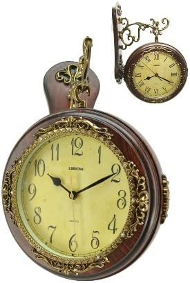 ThreeStar Fabulous Antique Incredible 2 Side Wall Clock Double Face Hanging Clock