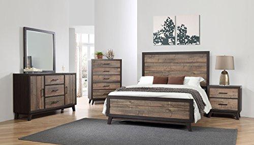 Kings Brand La Forest King Size Rustic Mahogany & Dark Ebony Wood Bedroom Set, Bed, Dresser, Mirror, Chest & 2 Night Stands