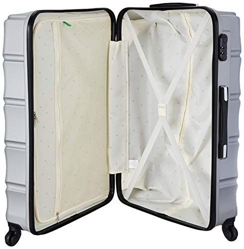 United Colors of Benetton Roadster Hardcase Luggage ABS 77 cms Silver Grey Hardsided Check-in Luggage (0IP6HAB28B02I)