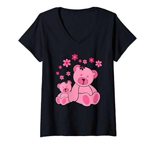 Womens Very Cute Two Pink Teddies With Flowers V-Neck T-Shirt