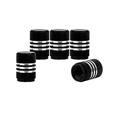 Haiy 5pcs Aluminum Car Tire Valve Caps Round Style Car Motorcycle Bicycle Air Valve Stem Covers Black (Black): Automotive