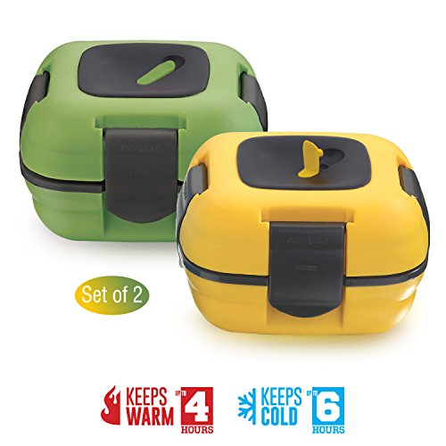 Lunch Box ~ Pinnacle Insulated Leak Proof Lunch Box for Adults and Kids - Thermal Lunch Container With NEW Heat Release Valve ~Set of 2~ Green/Yellow - Cool Containers