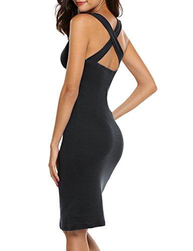 Back Tank Dress (Hotouch Women's V Neck Slim Fit Sleeveless Stretchy Tank Midi Dress (Black M))