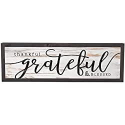 P. Graham Dunn Thankful Grateful Blessed Grey White 25 x 8 Inch Solid Pine Wood Farmhouse Frame Wall Plaque